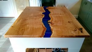 River Island | Resin filled worktop on painted cast iron saw bench